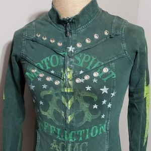 Affliction green distressed lightweight jacket